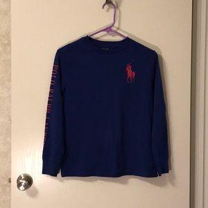 Navy blue 10-12 polo long sleeve shirt
